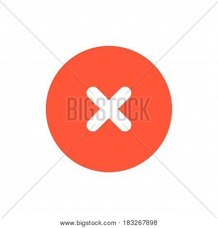 Close icon. Red delete symbol. Vector sign in flat design style.