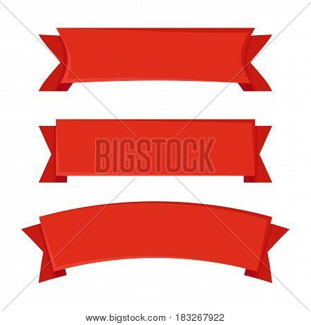 Set of red ribbons on white background. Vector illustration in flat design style.