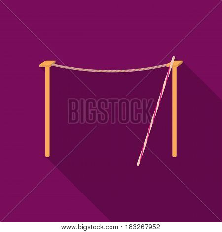 Tightrope icon in flat style isolated on white background. Circus symbol vector illustration.