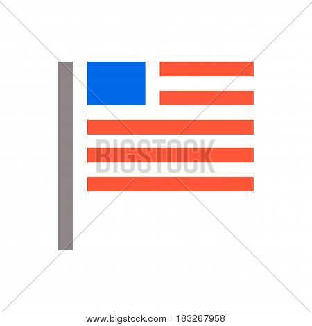 USA flag icon. Unaited states of America flag icon isolated minimal design.