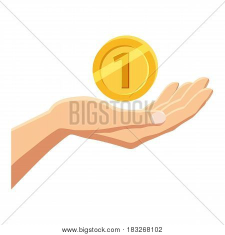 Hand holding gold coin icon. Cartoon illustration of hand holding gold coin vector icon for web