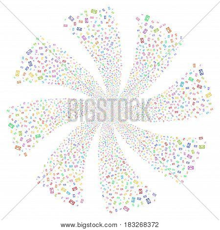 Envelope fireworks swirl rotation. Vector illustration style is flat bright multicolored iconic symbols on a white background. Object twirl done from random symbols.