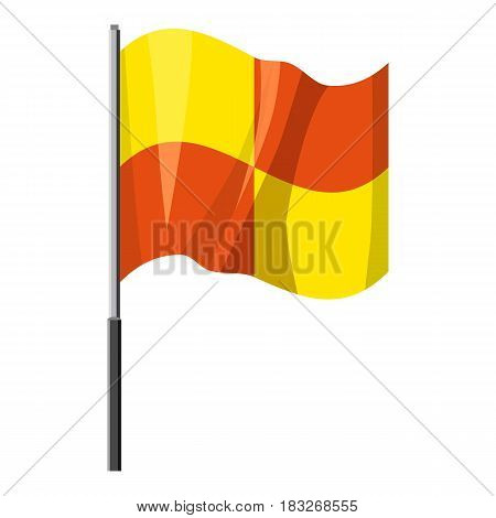 Yellow and orange flag with flagpole icon. Cartoon illustration of yellow and orange flag with flagpole vector icon for web