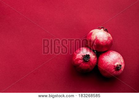 red set with cut pomegranate for restaurant menu top view mock-up