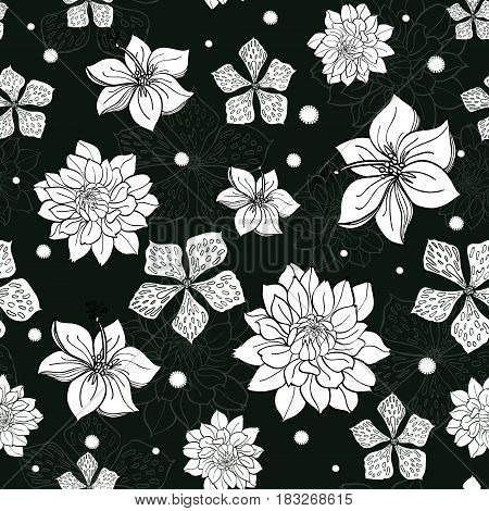 Vector tropical black and white flowers seamless repeat pattern background design. Great for summer party invitations, fabric, wallpaper, giftwrap paper. Surface pattern design.