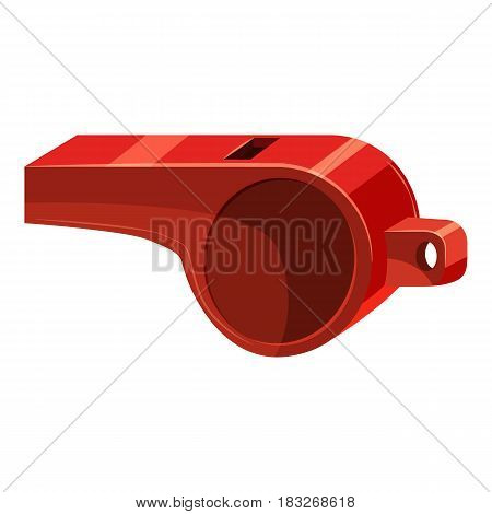 Red sport whistle icon. Cartoon illustration of red sport whistle vector icon for web