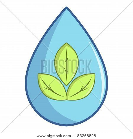 Green leaves inside water drop icon. Cartoon illustration of green leaves inside water drop vector icon for web