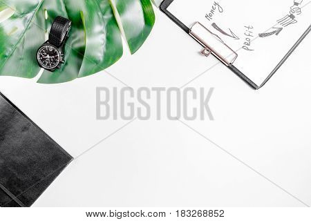 company strategy development management with sketching board in business set on white office desk background top view