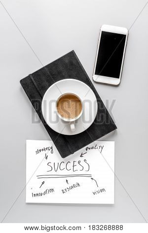 company strategy development management with notebook, mobile and cup of coffee in business set on gray office desk background top view mockup