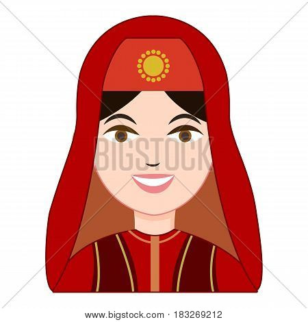 Turk woman in traditional costume icon. Cartoon illustration of turk woman in traditional costume vector icon for web