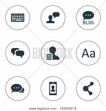 Vector Illustration Set Of Simple Newspaper Icons. Elements Profile, Share, Site And Other Synonyms Blog, Keypad And Earnings.