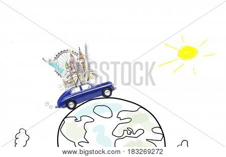 Around the world travel memories. Blue retro car with famous monuments on roof at sketch planet.