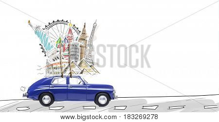 Around the world travel memories. Blue retro car with famous monuments on roof.