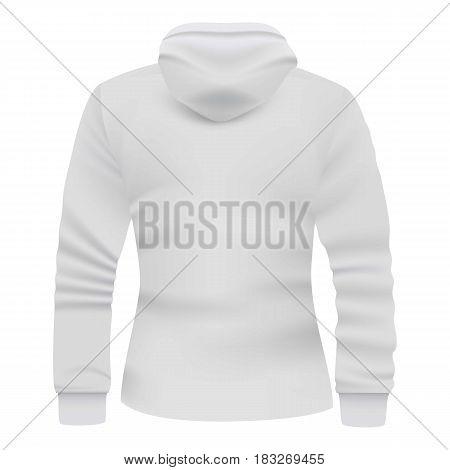 White hoodie back view mockup. Realistic illustration of white hoodie back view vector mockup for web