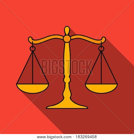 Scales of justice icon in flat style isolated on white background. Crime symbol vector illustration.