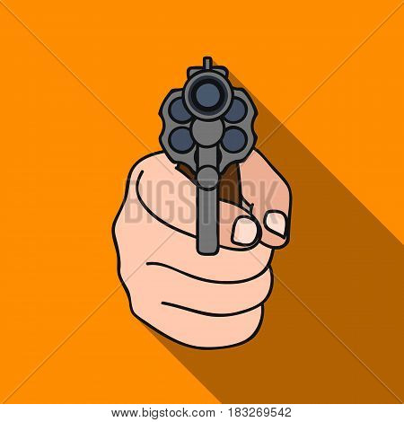 Directed gun icon in flat style isolated on white background. Crime symbol vector illustration.