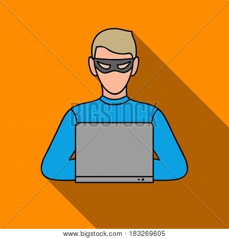 Hacker icon in flat style isolated on white background. Crime symbol vector illustration.