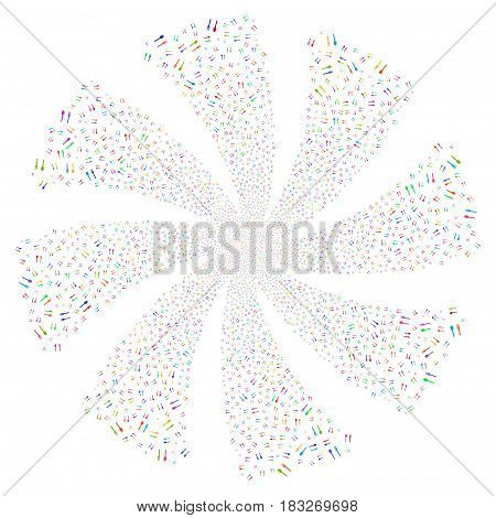 Fork And Spoon fireworks swirl rotation. Vector illustration style is flat bright multicolored iconic symbols on a white background. Object whirl combined from random symbols.