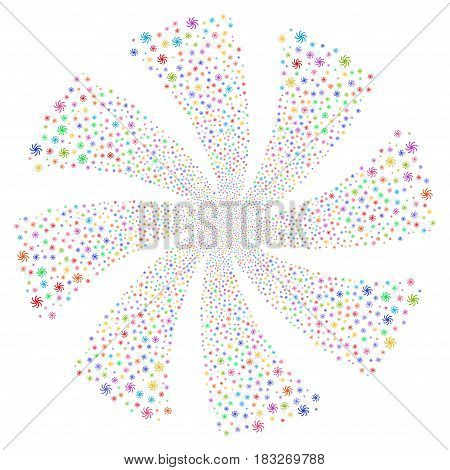 Galaxy fireworks swirl rotation. Vector illustration style is flat bright multicolored iconic symbols on a white background. Object twirl created from random pictographs.
