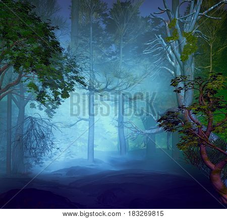 3D Illustration of forest landscape in a cloudy atmosphere