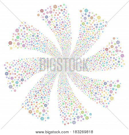 Galaxy fireworks swirl rotation. Vector illustration style is flat bright multicolored iconic symbols on a white background. Object whirlpool combined from random symbols.