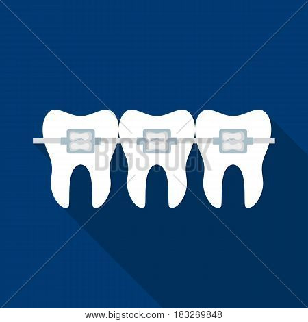 Teeth with dental braces icon in flat style isolated on white background. Dental care symbol vector illustration.