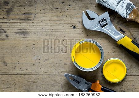instruments set for decorating and building renovation on wooden work desk background top view mockup