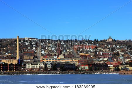 Duluth, Minnesota. View on the lake shore and the town from Park Point Recreation Area.