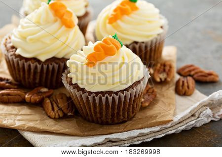 Carrot cupcakes with cream cheese frosting and decoration