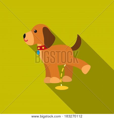 Pissing dog vector illustration icon in flat design