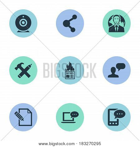 Vector Illustration Set Of Simple User Icons. Elements E-Letter, Broadcast, International Businessman And Other Synonyms Contract, E-Letter And Web.