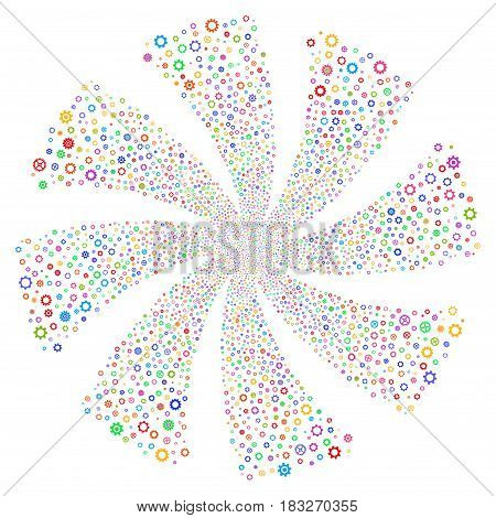 Gears And Cogs fireworks swirl rotation. Vector illustration style is flat bright multicolored iconic symbols on a white background. Object whirl constructed from random symbols.