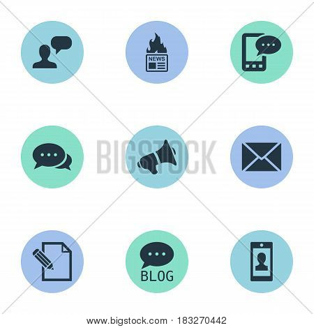 Vector Illustration Set Of Simple Newspaper Icons. Elements Man Considering, Profile, Gazette And Other Synonyms Gazette, Message And Forum.