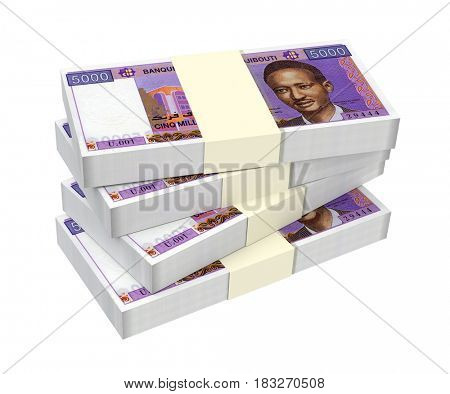 Djiboutian franc bills isolated on white background. 3D illustration.