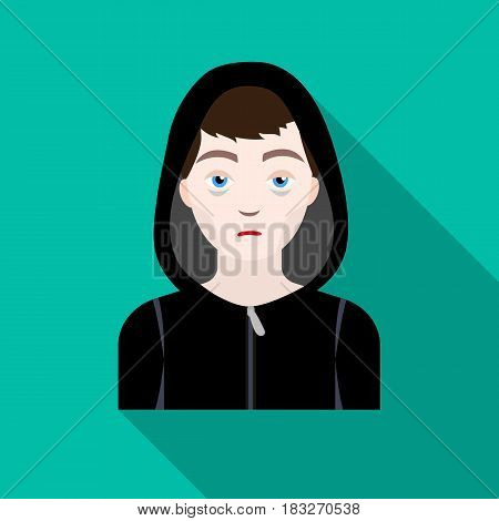 Drug addict man icon in flat style isolated on white background. Drugs symbol vector illustration.