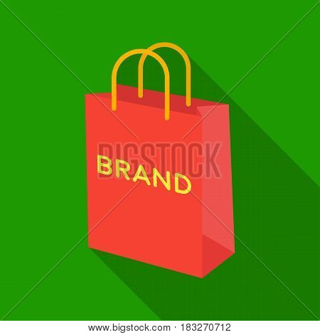Shopping bag icon in flat style isolated on white background. E-commerce symbol vector illustration.