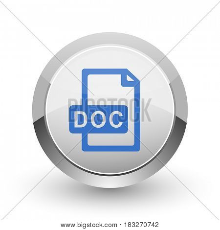 Doc file chrome border web and smartphone apps design round glossy icon.
