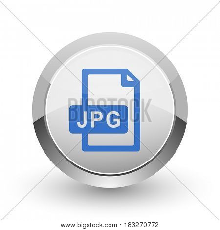 Jpg file chrome border web and smartphone apps design round glossy icon.
