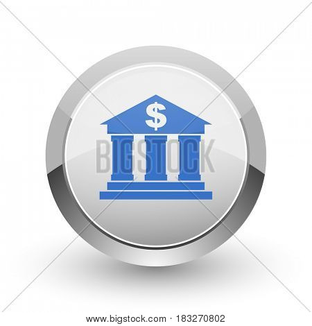 Bank chrome border web and smartphone apps design round glossy icon.