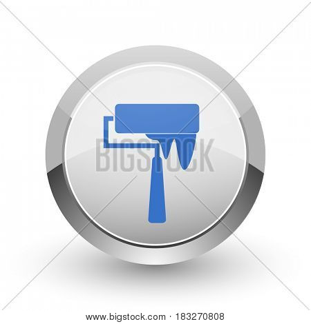 Brush chrome border web and smartphone apps design round glossy icon.