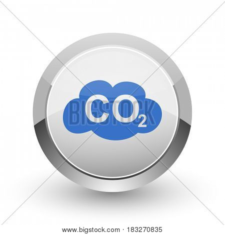 Carbon dioxide chrome border web and smartphone apps design round glossy icon.