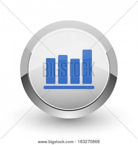 Bar chart chrome border web and smartphone apps design round glossy icon.