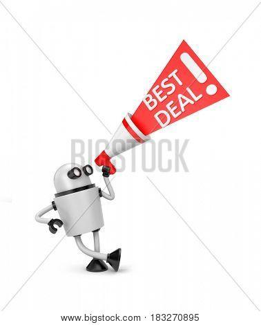 Robot with megaphone offer - best deal. 3d illustration