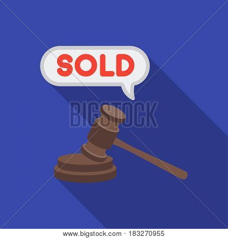 Auction hammer icon in flat style isolated on white background. E-commerce symbol vector illustration.