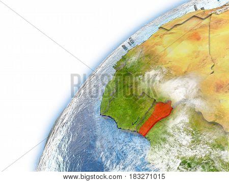 Benin On Model Of Planet Earth