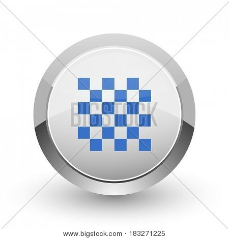 Chess chrome border web and smartphone apps design round glossy icon.