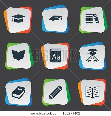 Vector Illustration Set Of Simple Education Icons. Elements Notebook, Bookshelf, Academic Cap And Other Synonyms Cap, Hat And Alphabet.