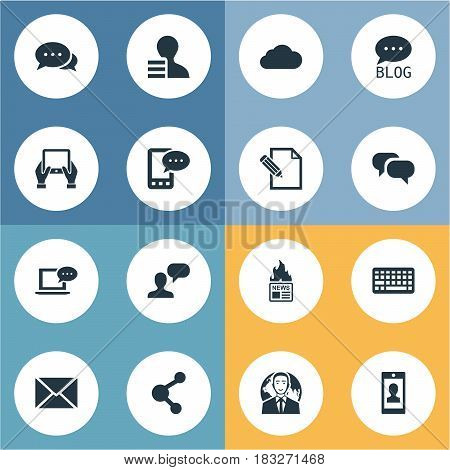 Vector Illustration Set Of Simple User Icons. Elements Overcast, Man Considering, E-Letter And Other Synonyms Relation, Gazette And Sky.