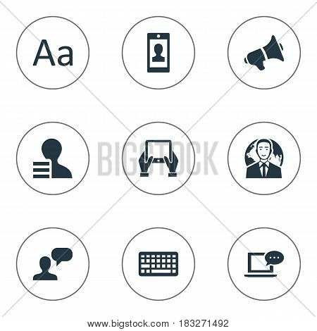 Vector Illustration Set Of Simple Blogging Icons. Elements Man Considering, Keypad, Loudspeaker And Other Synonyms Tablet, International And Profit.