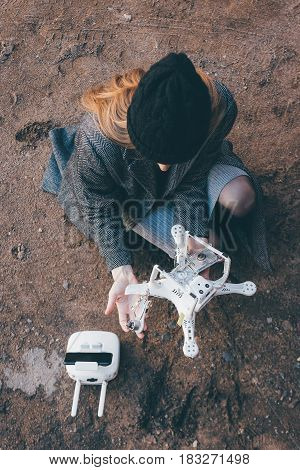Some crashed drone after an accident in the air